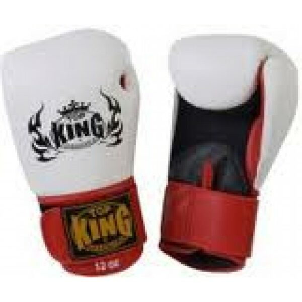 Top King Muay Thai Boxing Glove White Black Red (OP=OP)